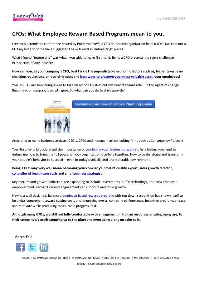 CFOs: What Employee Reward Based Programs mean to you.