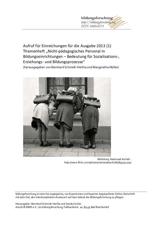 Aufruf für Beiträge: Nicht-pädagogisches Personal in Bildungseinrichtungen (bildungsforschung)