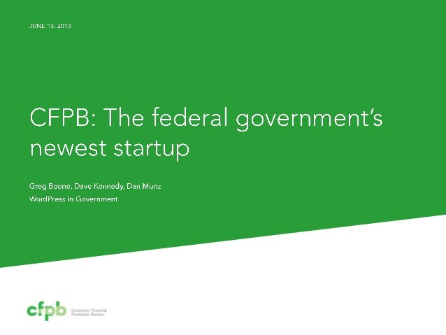The StartUp Agency - A Case Study on CFPB