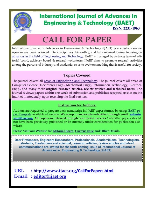 Call for Papers Engineering