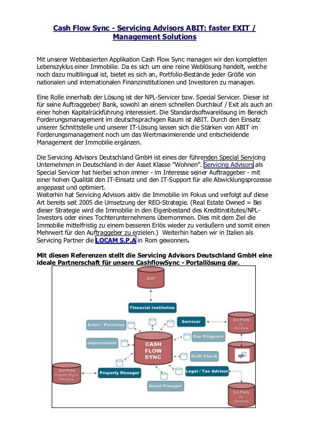 Cash Flow Sync - Servicing Advisors ABIT: faster EXIT / Management Solutions Mit unserer Webbasierten Applikation Cash Flo...