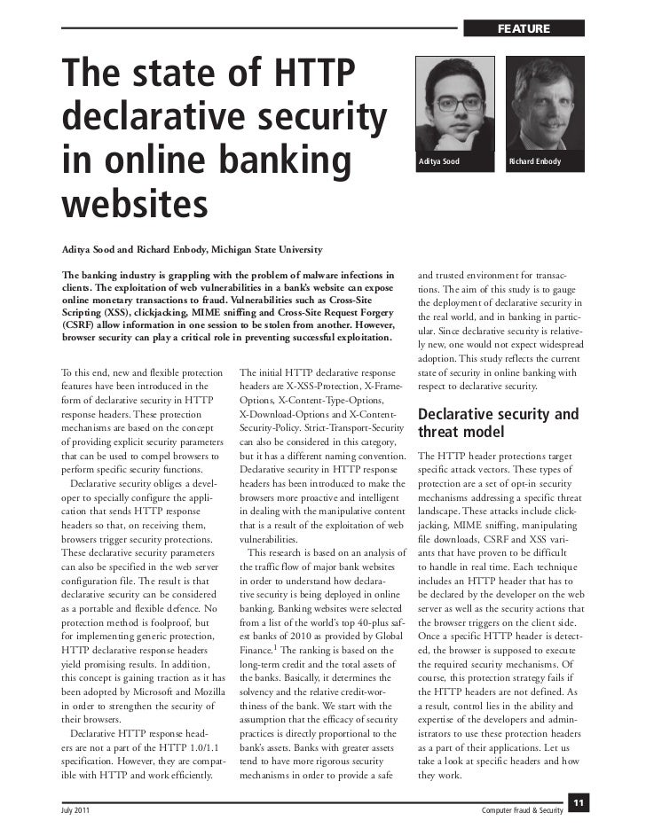 FEATUREThe state of HTTPdeclarative securityin online banking                                                             ...