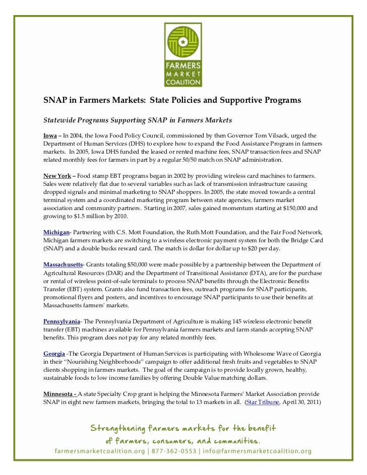 SNAP in Farmers Markets: State Policies and Supportive ProgramsStatewide Programs Supporting SNAP in Farmers MarketsIowa –...