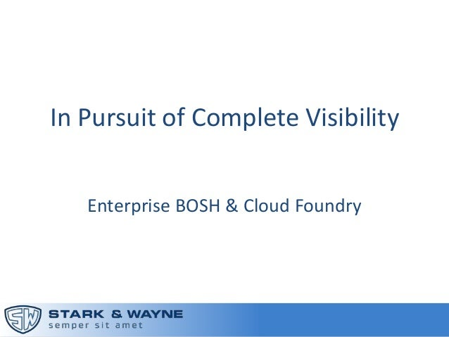 In Pursuit of Complete Visibility within Cloud Foundry (Cloud Foundry Summit 2014)