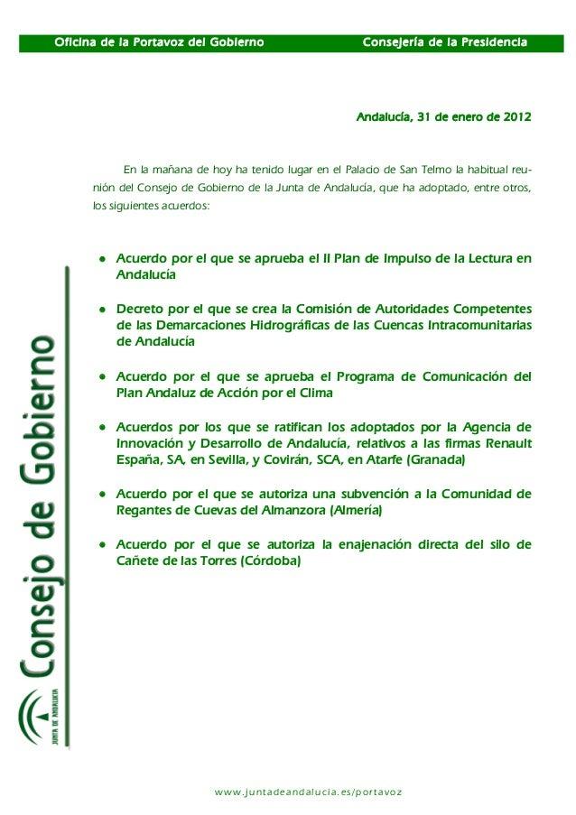Oficina de la Portavoz del Gobierno Consejería de la Presidencia www.juntadeandalucia.es/portavoz Andalucía, 31 de enero d...