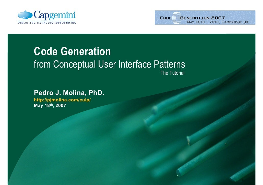 Code Generation for Conceptual User Interface Patterns