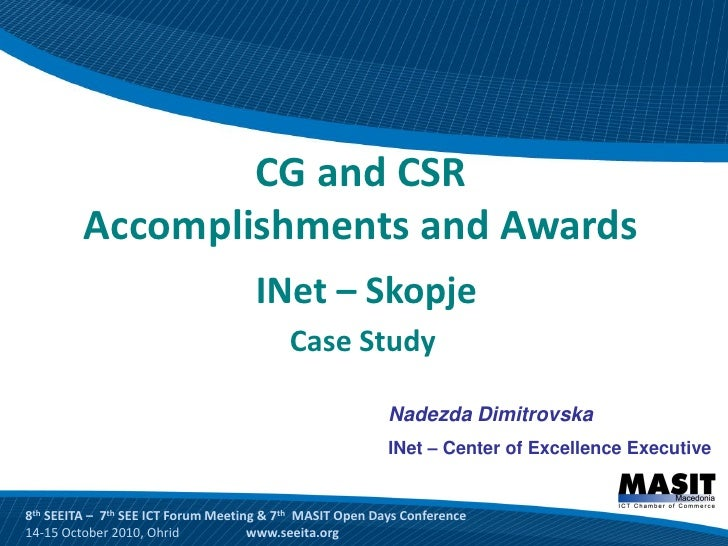 CG and CSR Accomplishments and Awards INet–Skopje