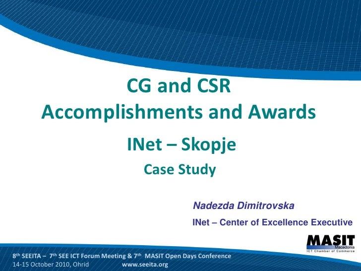Cg and csr accomplishments and awards