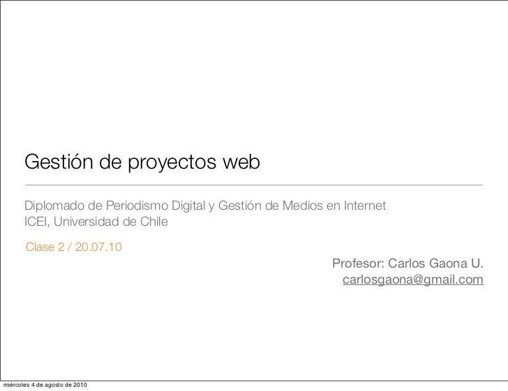 Gestión de Proyectos Digitales (Clase 2)