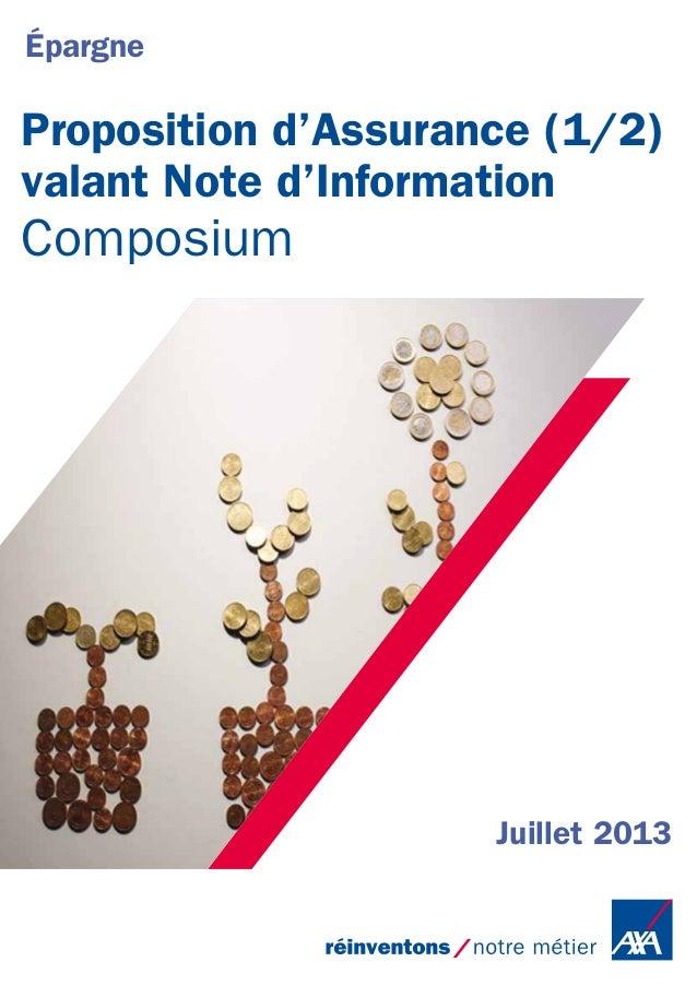 Proposition d'Assurance (1/2)  valant Note d'Information  Composium  Juillet 2013  Épargne