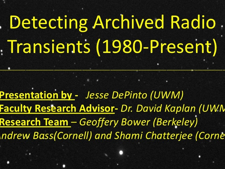 Detecting Archived Radio   Transients (1980-Present)______________________________________________________________________...