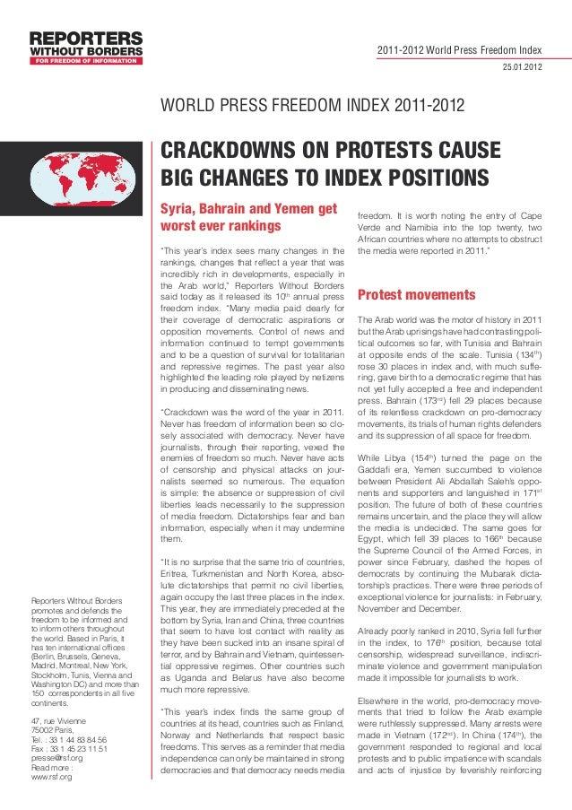 WORLD PRESS FREEDOM INDEX 2011-2012