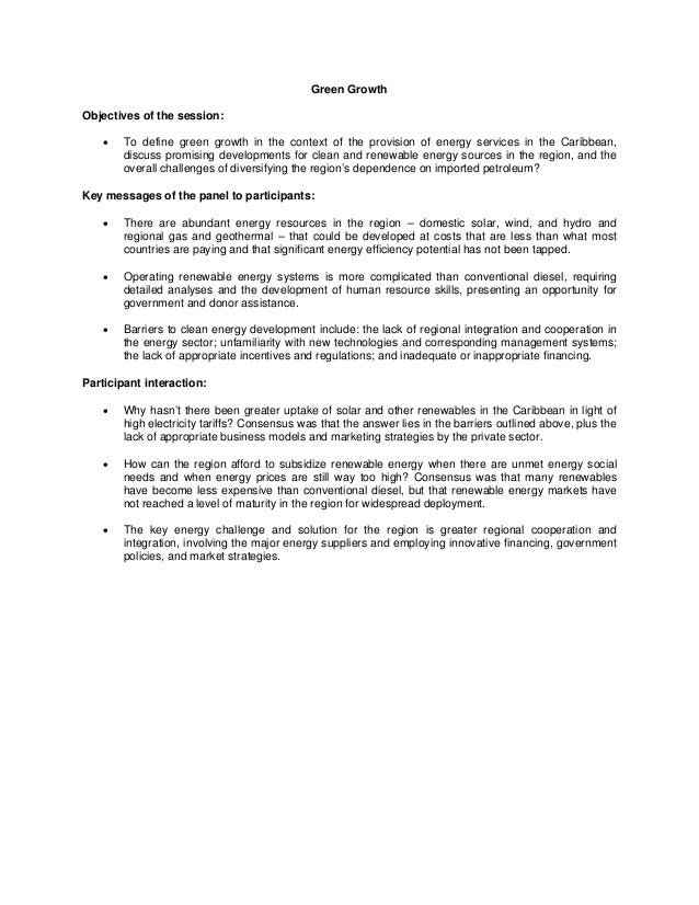 Green Growth Objectives of the session:   To define green growth in the context of the provision of energy services in th...