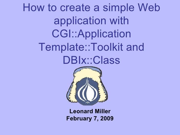 Create a web-app with Cgi Appplication