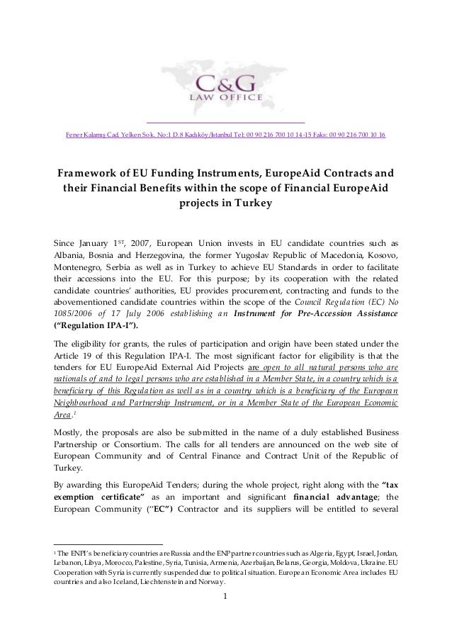framework of eu funding instruments  europeaid contracts