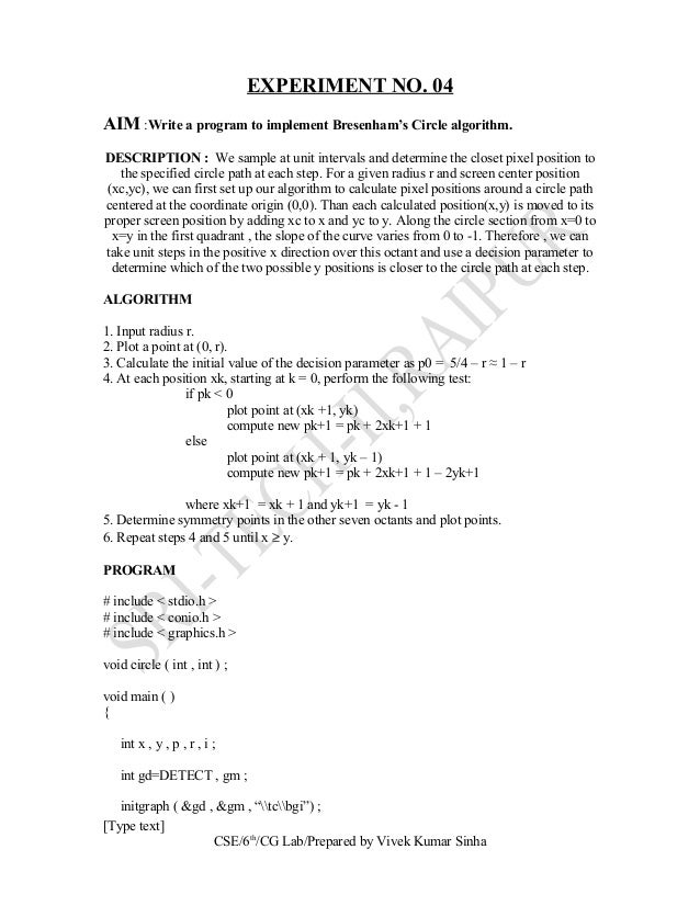 Bresenham Line Drawing Algorithm Questions : Computer graphics lab manual