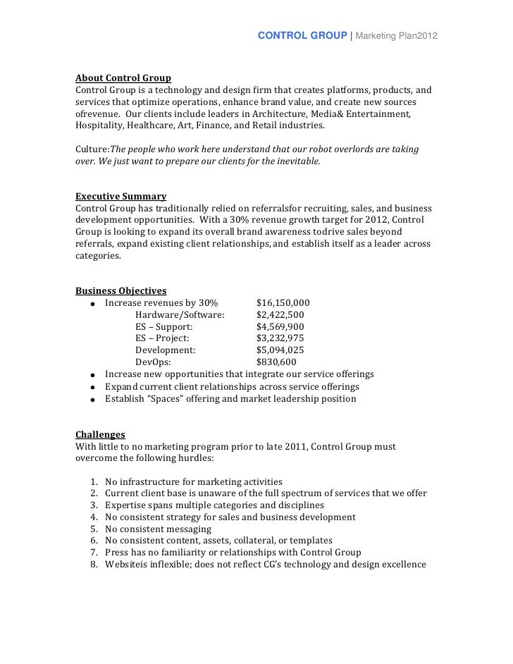 CONTROL GROUP | Marketing Plan2012About Control GroupControl Group is a technology and design firm that creates platforms,...