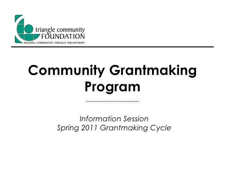 Community Grantmaking Program Information Webinar - Spring 2011