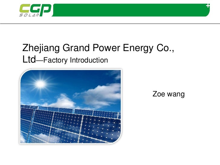 New Energy Conference-Zoe Wang from CGP Solar