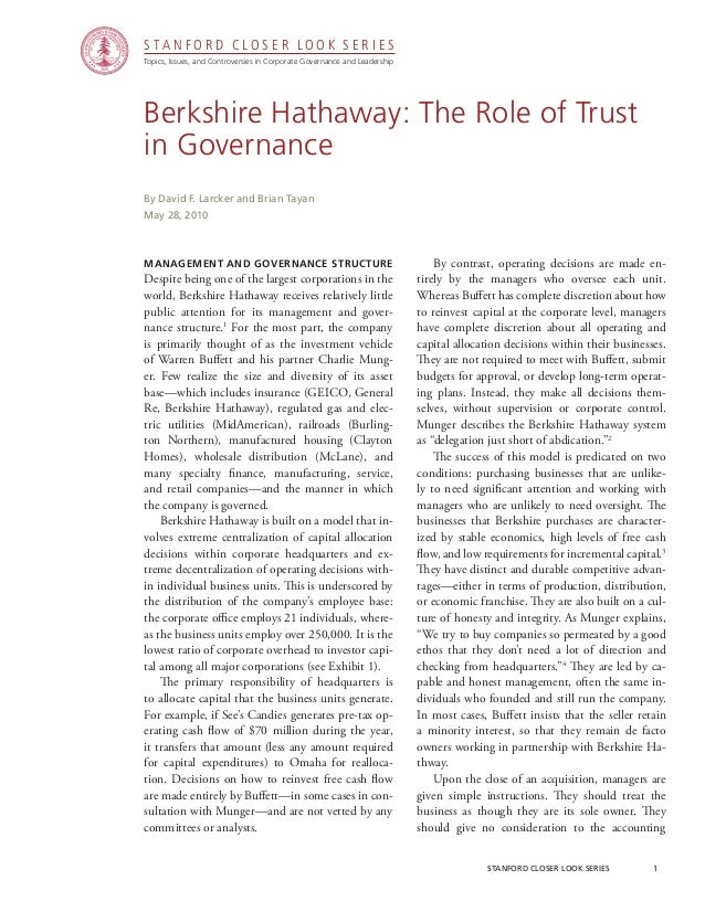 stanford closer look series 1 Berkshire Hathaway: The Role of Trust in Governance management and Governance Structure De...