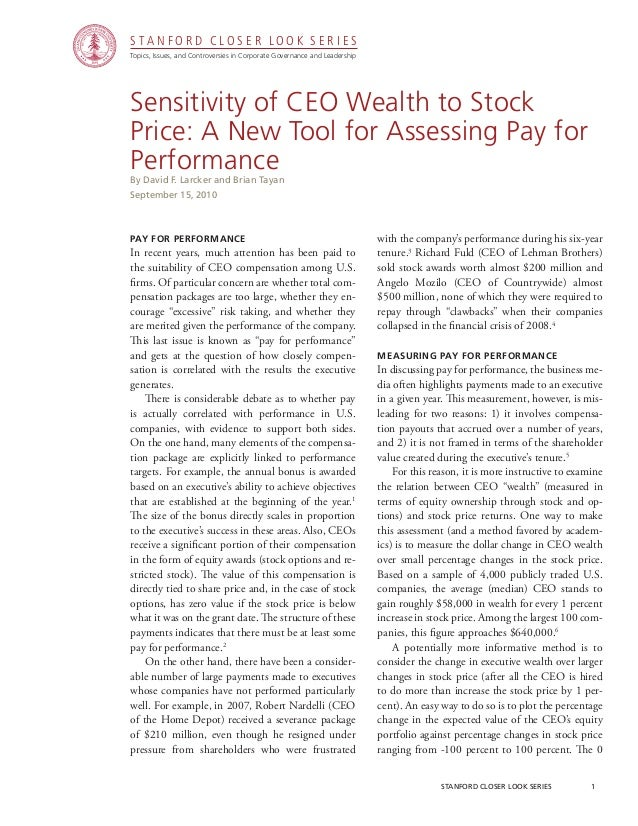 CGRP10 -  Sensitivity of CEO Wealth to Stock Price: A New Tool For Assessing Pay for Performance