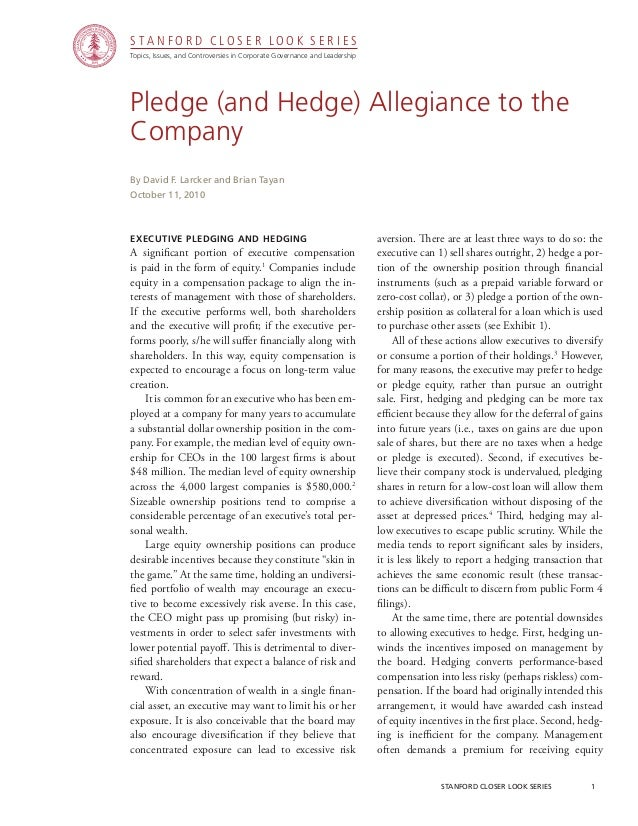 CGRP11 -  Pledge (and Hedge) Allegiance to the Company