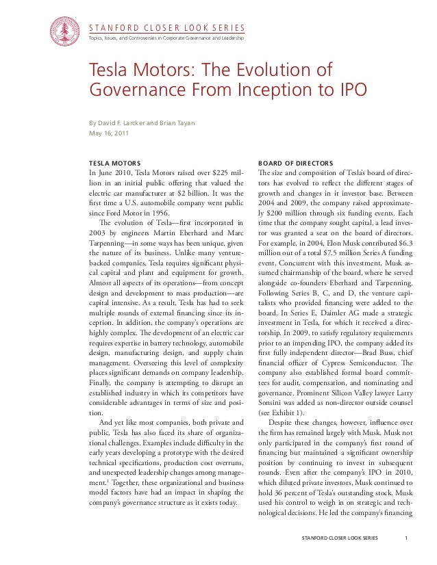 CGRP15  - Tesla Motors: The Evolution of Governance from Inception to IPO