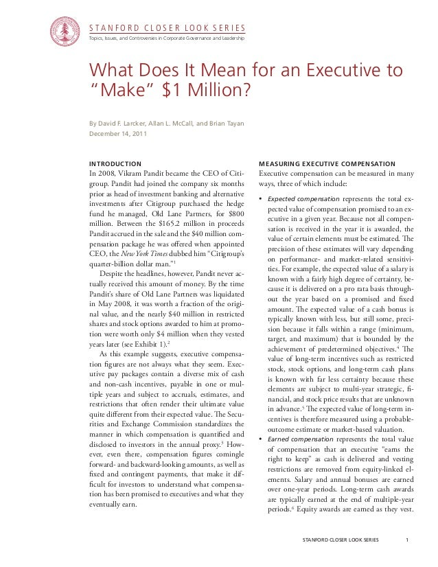 CGRP22 - What Does It Mean for an Executive To Make $1 Million?