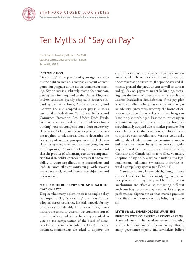 """CGRP26 - Ten Myths of """"Say on Pay"""""""