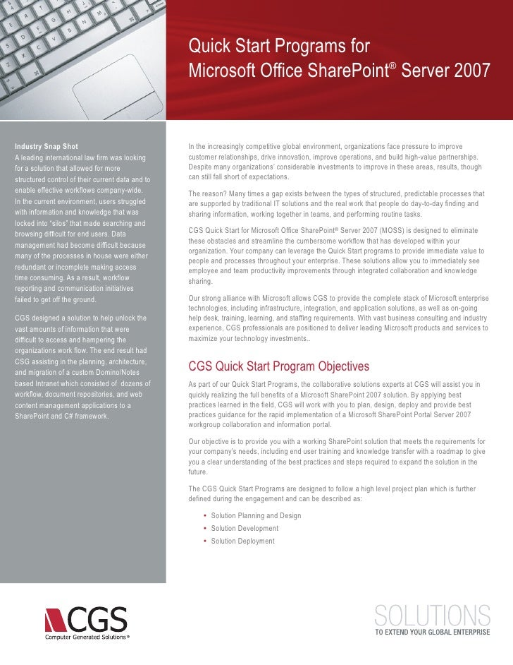 CGS-Microsoft SharePoint Quickstarts