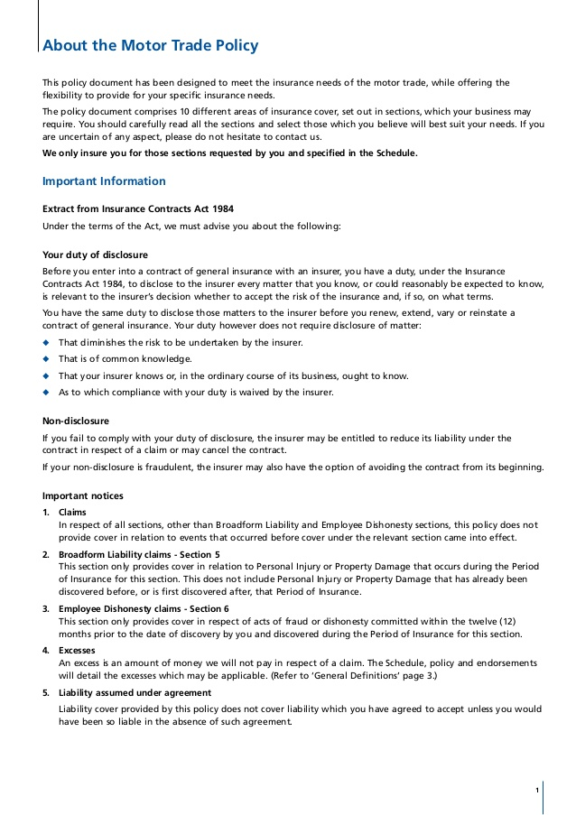 Aviva Policy Wordings Car Insurance