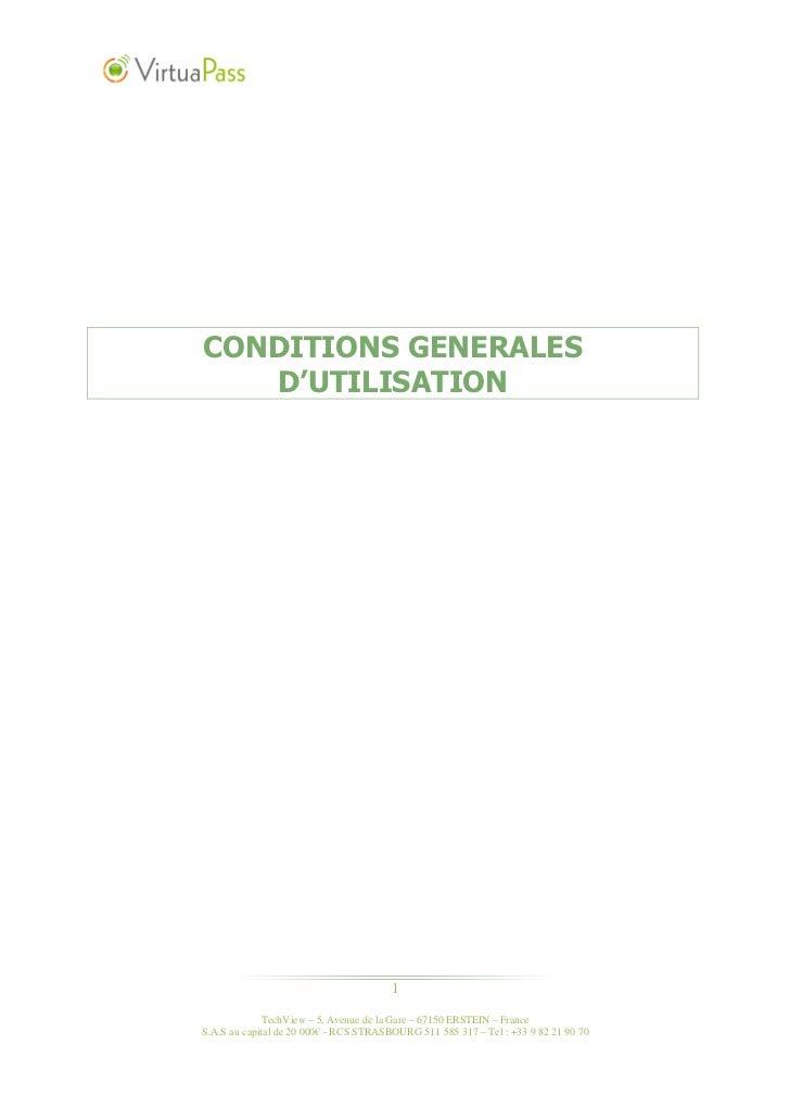 CONDITIONS GENERALES   D'UTILISATION                                        1              TechView – 5, Avenue de la Gare...