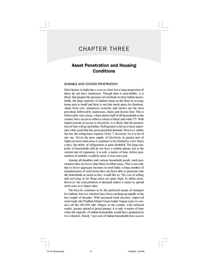 CHAPTER THREE                            Asset Penetration and Housing                                    Conditions      ...