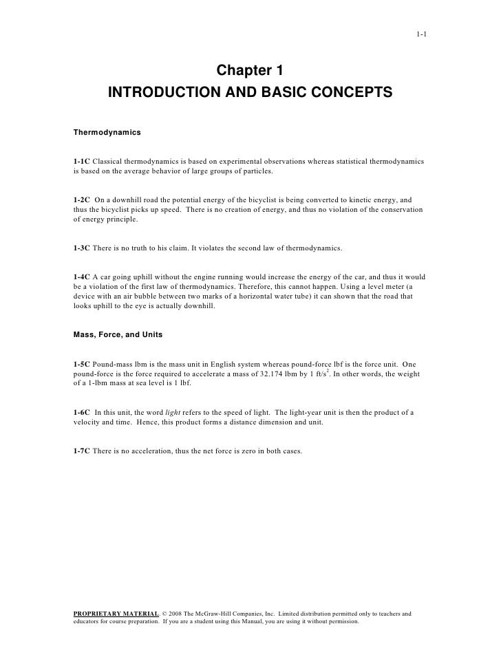 1-1                       Chapter 1           INTRODUCTION AND BASIC CONCEPTSThermodynamics1-1C Classical thermodynamics i...