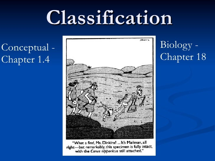 ClassificationConceptual -          Biology -Chapter 1.4           Chapter 18