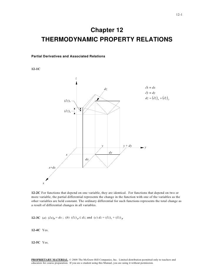 12-1                   Chapter 12        THERMODYNAMIC PROPERTY RELATIONSPartial Derivatives and Associated Relations12-1C...