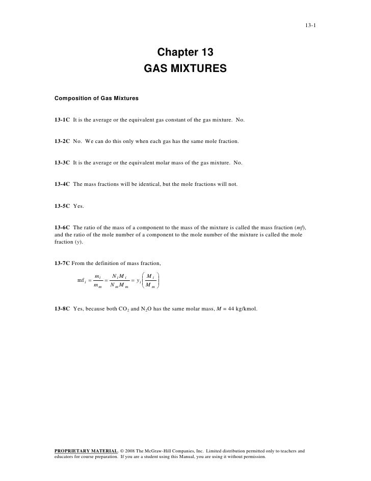 13-1                                         Chapter 13                                       GAS MIXTURESComposition of G...