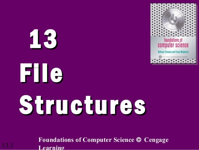 13.1 1313 FileFile StructuresStructures Foundations of Computer Science © Cengage Learning