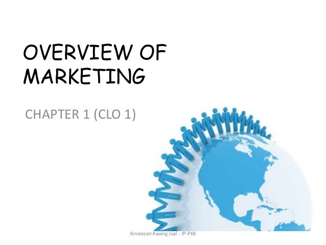 OVERVIEW OF MARKETING CHAPTER 1 (CLO 1)  Ainiezean Awang Jual - JP-PKK
