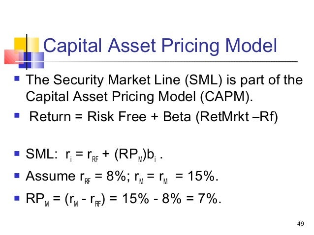 capital asset pricing model and return 80 overview this class extends the diversification material in deriving the capital asset pricing model (capm) this model is widely used in capital budgeting.