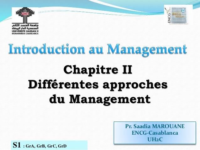 Pr. Saadia MAROUANE ENCG-Casablanca UH2C S1 : GrA, GrB, GrC, GrD Chapitre II Différentes approches du Management