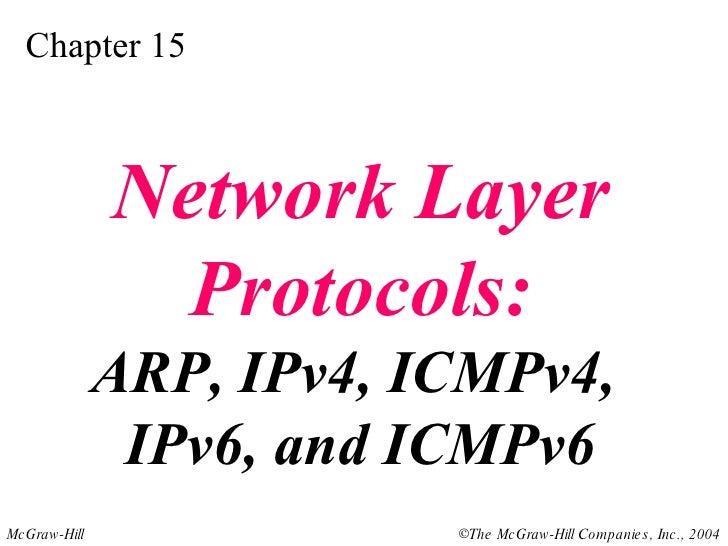 Chapter 15 Network Layer Protocols: ARP, IPv4, ICMPv4,  IPv6, and ICMPv6
