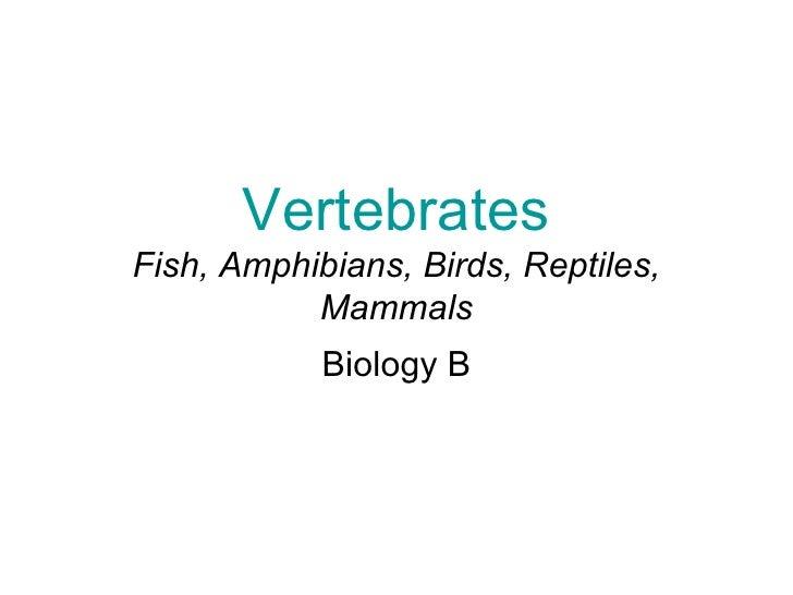 VertebratesFish, Amphibians, Birds, Reptiles,           Mammals            Biology B