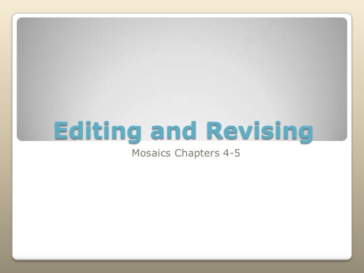 Revision and Editing