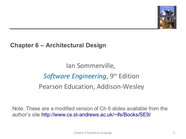 ... Architectural designIan Sommerville,Software Engineering