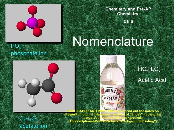Nomenclature PO 4 3- phosphate ion C 2 H 3 O 2 - acetate ion HC 2 H 3 O 2 Acetic Acid Chemistry and Pre-AP Chemistry  Ch 6...