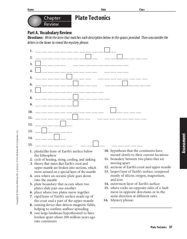 and plate tectonics worksheet answers ch 7 glencoe worksheets Success