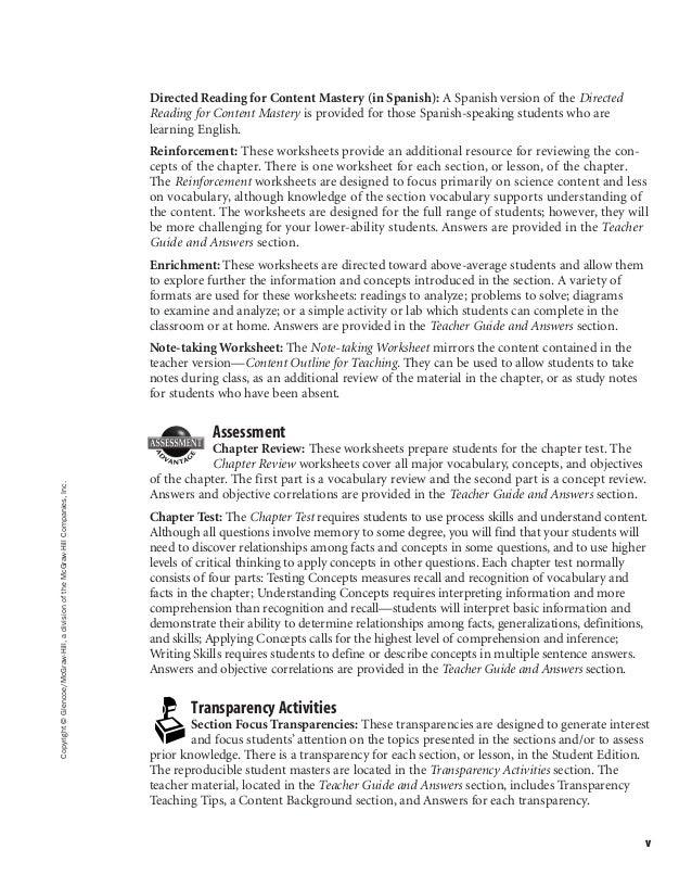 Ch. 7 glencoe worksheets