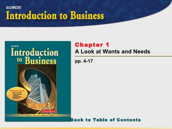 pp. 4-17 Chapter 1   A Look at Wants and Needs