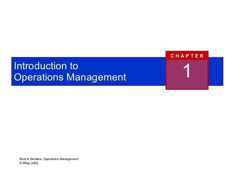 Introduction to  Operations Management 1 C H A P T E R